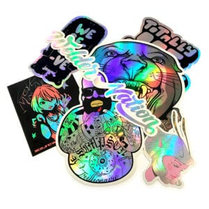 specialty ink printing, glitter, holographic, metallic, glow in the dark