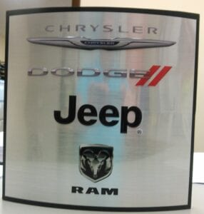 logo brick branding display for Chrysler, Dodge, Jeep
